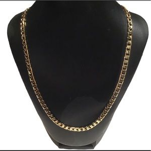 14K Gold Plated Cuban Link Chain Metal Necklace